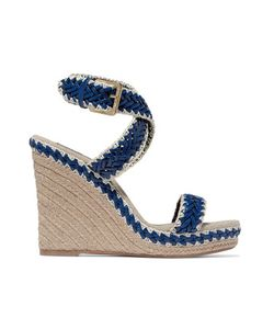 Tory Burch | Lilah Leather And Linen Wedge Sandals Bright