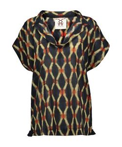 Figue | Woman Ava Draped Printed Cotton-Blend Broadcloth Top Size