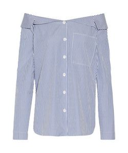 Tibi | Off-The-Shoulder Striped Cotton-Poplin Top