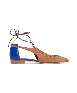 Malone Souliers | Montana Cutout Suede And Leather Point-Toe Flats