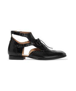 Maison Margiela | Cutout Elaphe And Leather Ankle Boots