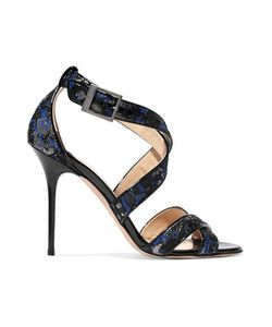 Jimmy Choo | Lottie Suede-Trimmed Jacquard Sandals