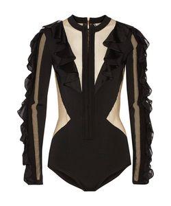 Balmain   Ruffled Gauze-Paneled Stretch-Knit Bodysuit
