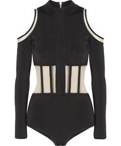 Balmain   Cold-Shoulder Tulle-Paneled Stretch-Knit Bodysuit