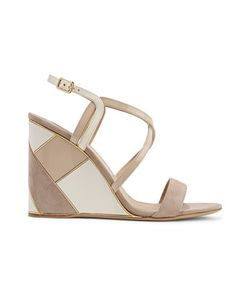 Salvatore Ferragamo | Color-Block Paneled Suede And Patent-Leather Wedge Sandals