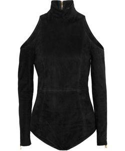 Balmain | Cold-Shoulder Suede Bodysuit