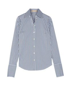 Michael Kors Collection | Checked Cotton-Blend Poplin Shirt