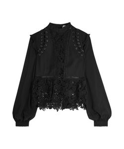 Self-Portrait | Lace-Up Georgette And Guipure Lace Blouse