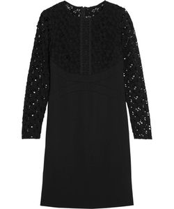 Lela Rose | Macramé Lace-Paneled Cotton-Blend Dress