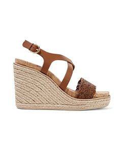Salvatore Ferragamo | Smooth And Laser-Cut Leather Wedge Sandals