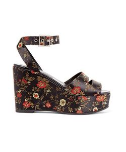 Newbark | Maggie Embroidered Satin Platform Sandals