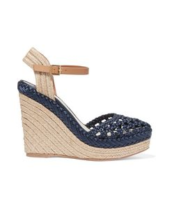 Tory Burch | Solemar Leather-Trimmed Woven Satin Wedge Sandals