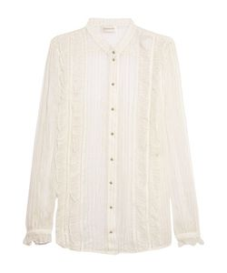 Zimmermann | Ruffle-Trimmed Striped Silk-Chiffon Shirt