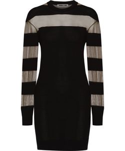 McQ Alexander McQueen | Mesh-Panelled Wool-Blend Mini Dress