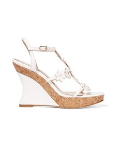 Oscar de la Renta | Jumma Embellished Leather Wedge Sandals