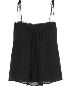 See by Chloé   Guipure Lace-Trimmed Silk-Chiffon Camisole