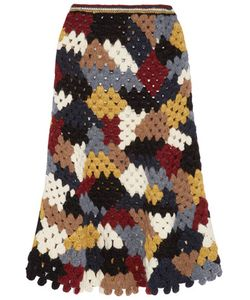 Rosetta Getty | Crocheted Alpaca-Blend Midi Skirt