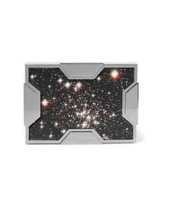 Lee Savage | Space Printed Leather And Gunmetal-Tone Clutch