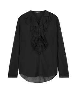 Theory | Rianala Lace-Up Ruffled Silk-Georgette Blouse