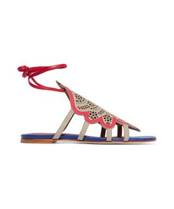 Malone Souliers | Lla Leather-Trimmed Perforated Suede Sandals