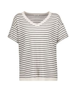 Brunello Cucinelli   Striped Wool And Cashmere-Blend T-Shirt