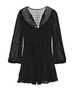 Zimmermann | Belle Lace-Paneled Embroidered Silk-Voile Playsuit