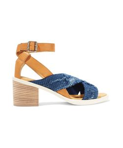 Mm6 Maison Margiela | Leather And Frayed Denim Sandals Mid