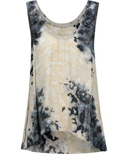 Enza Costa   Ribbed Knit-Trimmed Tie-Dyed Satin Tank