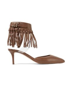 Valentino | Fringed Textured-Leather And Pvc Pumps