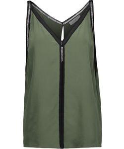 Sandro | Empire Open-Knit Cotton-Trimmed Silk Top