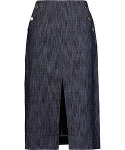 Tanya Taylor | Ines Embroidered Denim Midi Skirt