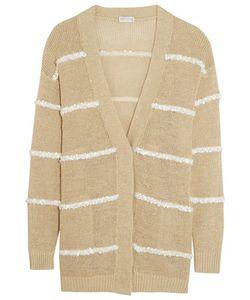Brunello Cucinelli   Embellished Hemp Linen And Silk-Blend Cardigan