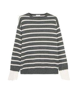 Brunello Cucinelli   Lace-Trimmed Striped Cashmere Sweater