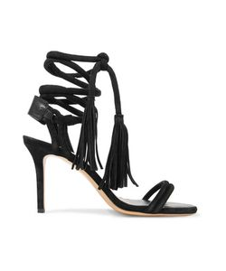 Isabel Marant | Amina Lace-Up Leather-Trimmed Suede Sandals