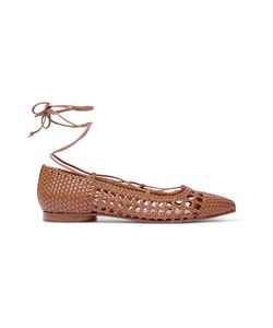 Michael Kors Collection | Kallie Woven Leather Point-Toe Flats