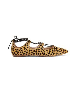 Loeffler Randall | Ambra Lace-Up Leopard-Print Calf Hair Point-Toe Flats