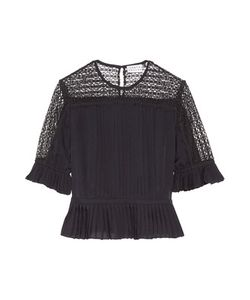 Tanya Taylor | Zohara Pleated Lace-Paneled Silk Top