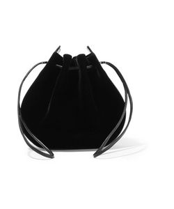 Vanessa Seward | Caprice Patent Leather-Trimmed Velvet Shoulder Bag
