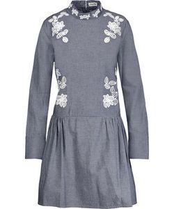 Suno | Embroide Cotton-Chambray Mini Dress