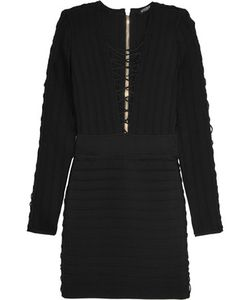 Balmain | Lace-Up Ribbed Stretch-Knit Mini Dress