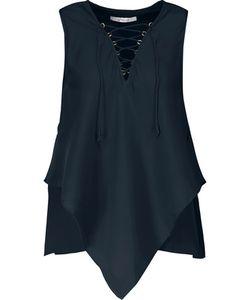 Derek Lam 10 Crosby   Lace-Up Asymmetric Silk Top Midnight