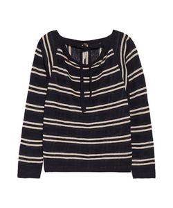 Soyer | Baja Draped Striped Linen And Cotton-Blend Sweater Midnight