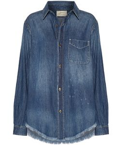 Current/Elliott | The Prep School Frayed Distressed Denim Shirt Light