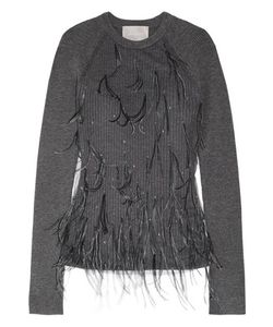 Jason Wu | Feather-Embellished Tulle And Ribbed Wool-Blend Sweater Dark