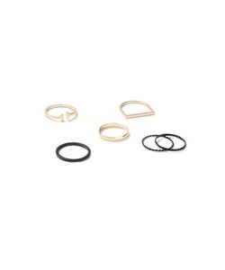 Topman | Mixed Metal Fine Ring 6 Pack