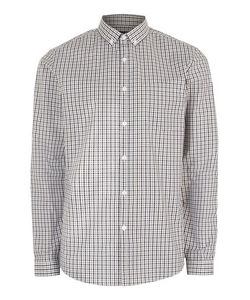 Topman | Mens Grey And Stone Gingham Button Down Dress Shirt