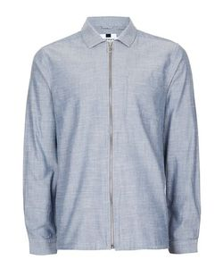 Topman | Chambray Zip Through Overshirt