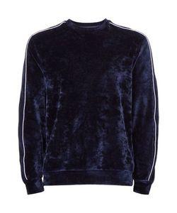 Topman | Navy Velour Piped Sweatshirt