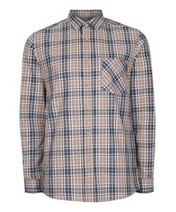 Topman | Stone And Navy Check Casual Shirt