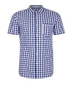 Topman | Navy And Checked Muscle Fit Shirt